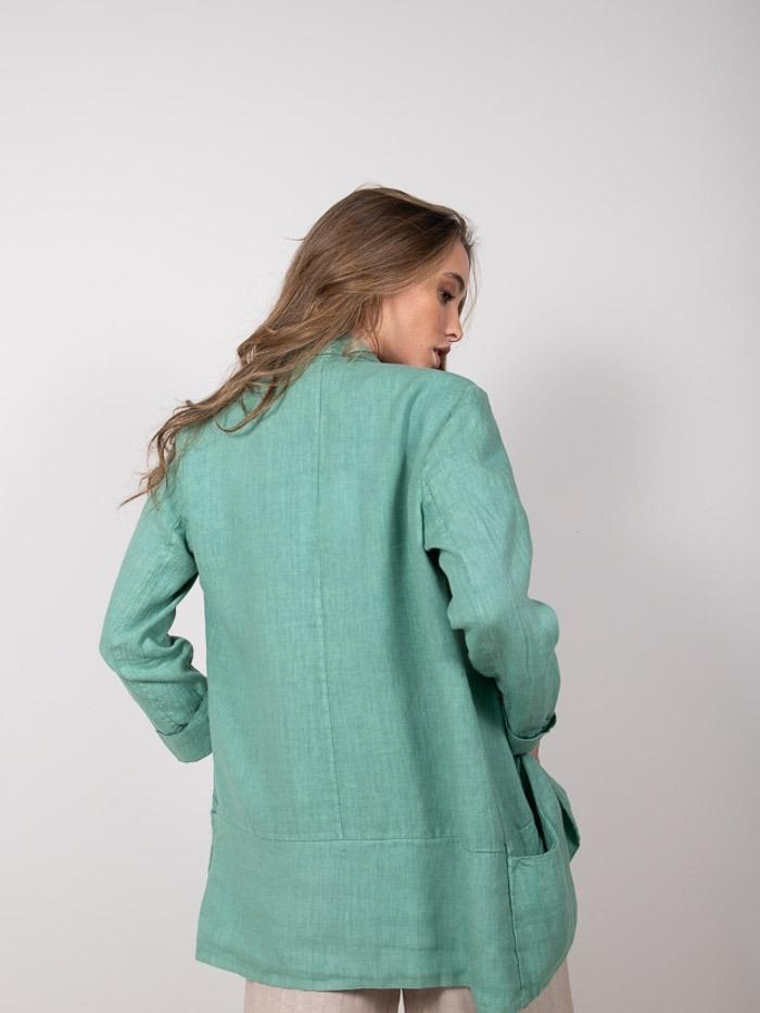 Blazer lino mujer Verde
