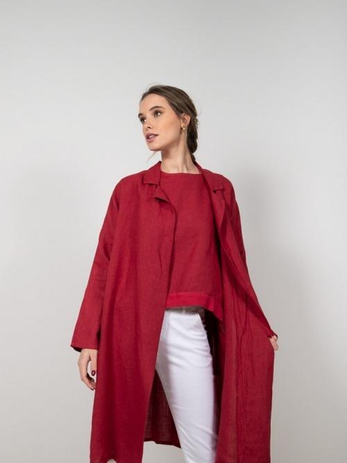 Chaqueta oversize lino mujer Rojo