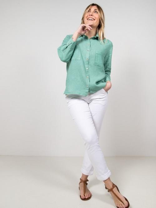 Camisa lino bolsillos mujer Verde