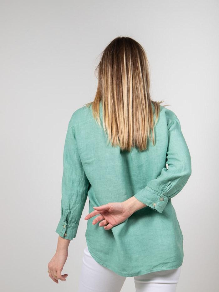 Woman Woman Linen shirt with pockets Green