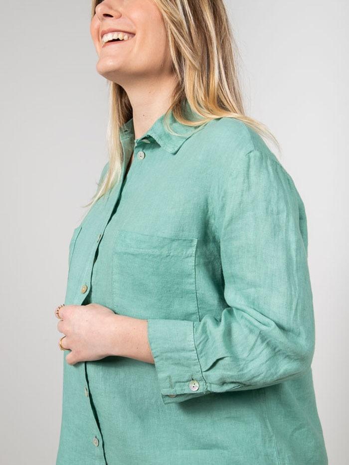 Camisa lino mujer bolsillos Verde