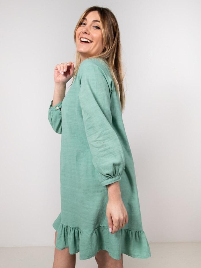 Cotton and linen dress Green
