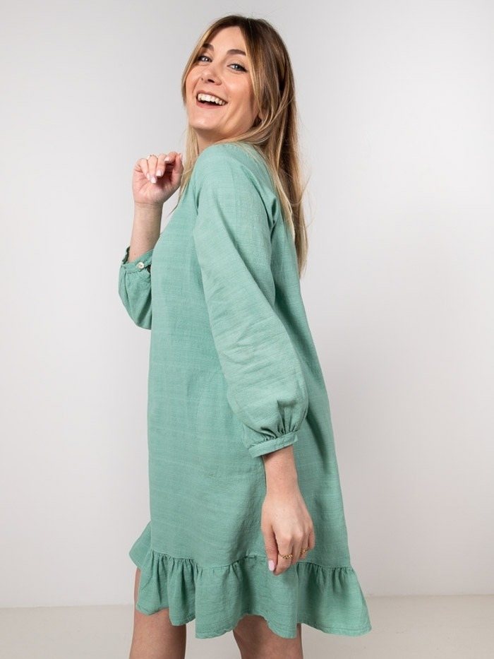 Vestido lino algodon volante mujer Verde