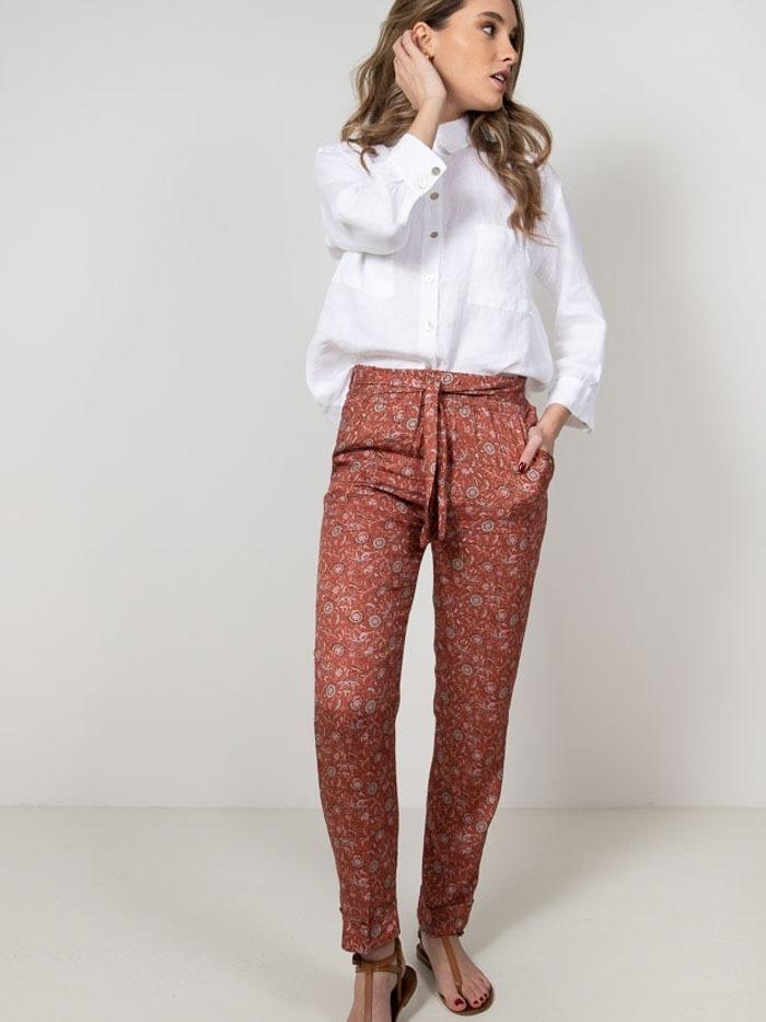 Pantalón estampado flor mujer Teja