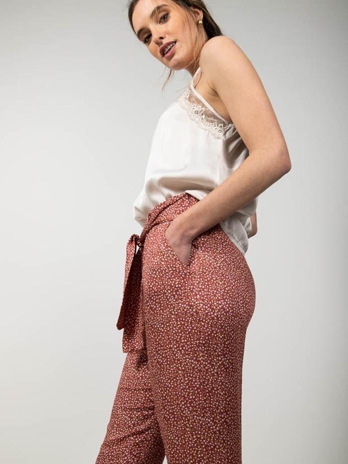 Elastic waist print pants Tile