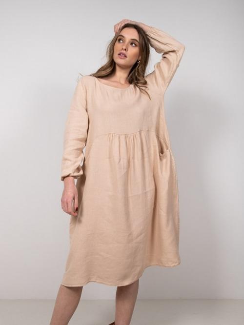 Vestido lino oversize mujer Beige