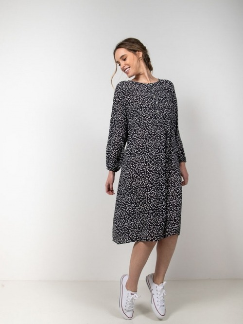 Animal print dress with buttons Black