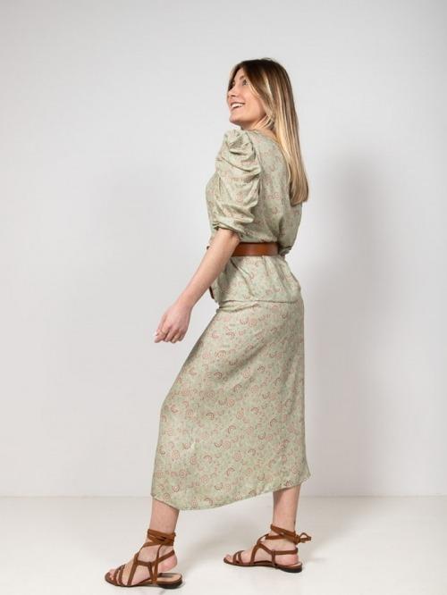 Flower and glitter print skirt Green