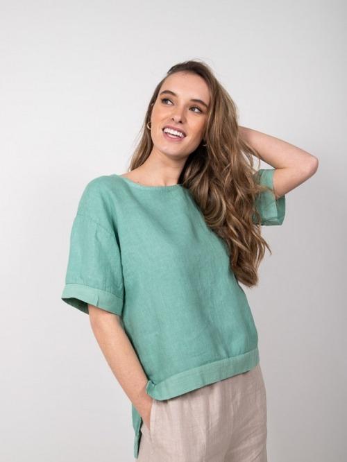 Camisa lino detalle mangas mujer Verde