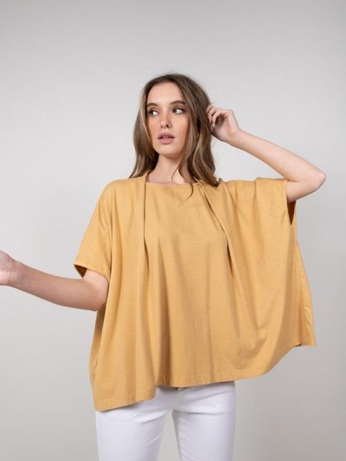 Camiseta felpa algodón miel