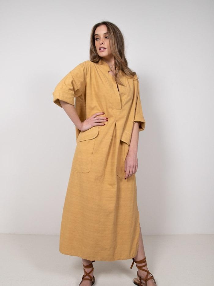 Vestido camisero largo algodón miel