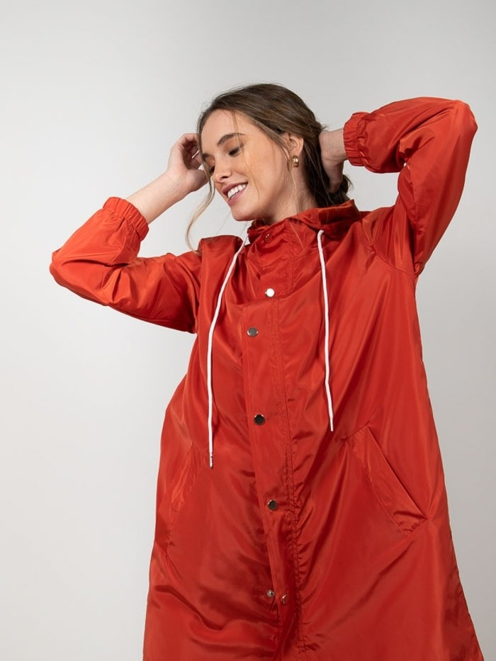 Lightweight waterproof trench coat Red