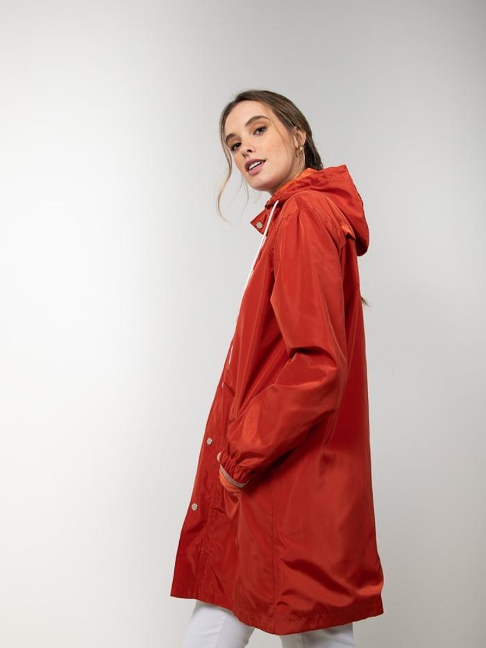 Gabardina mujer impermeable ligera Rojo