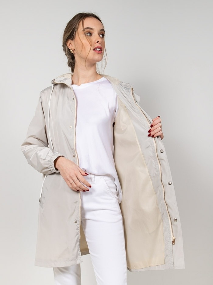 Lightweight waterproof trench coat Ice colour