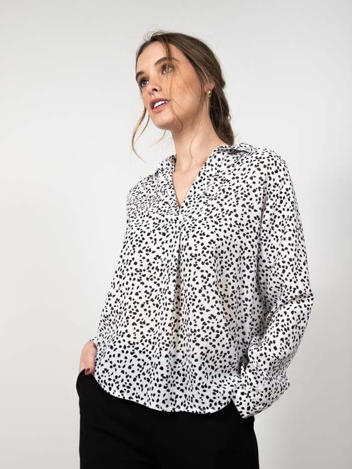 Animal print fluid shirt Black