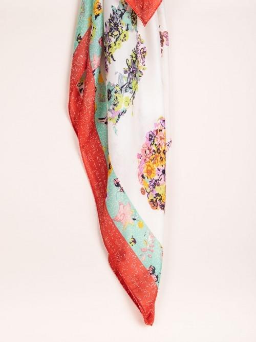 Maxi animal print scarf Red