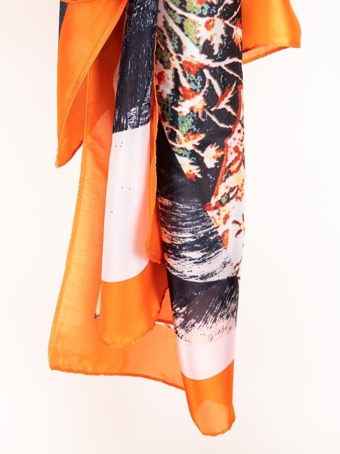 Maxi floral print scarf Orange
