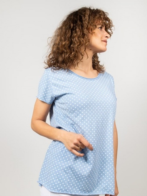 Cotton polka dots T-shirt Blue