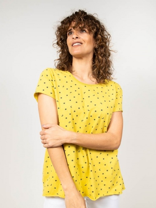 Printed cotton t-shirt with moons Amarillo