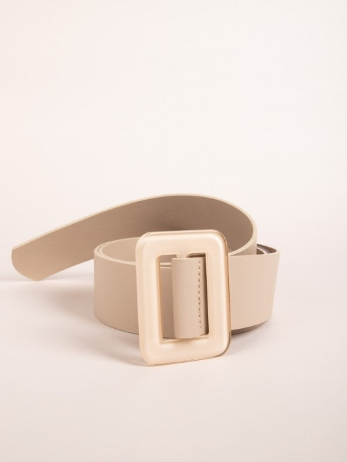 Trendy rectangular buckle belt Beige