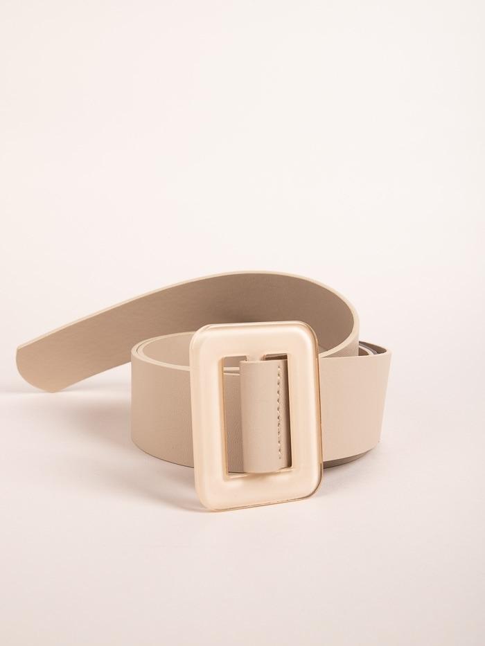 Cinturón hebilla rectangular trendy Beige