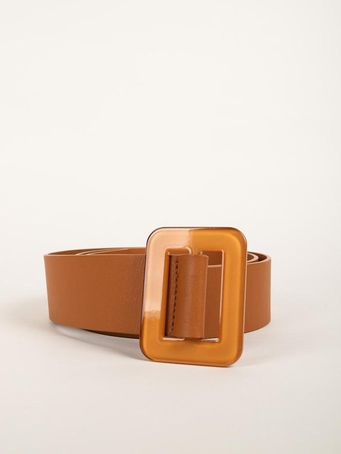 Trendy rectangular buckle belt Camel