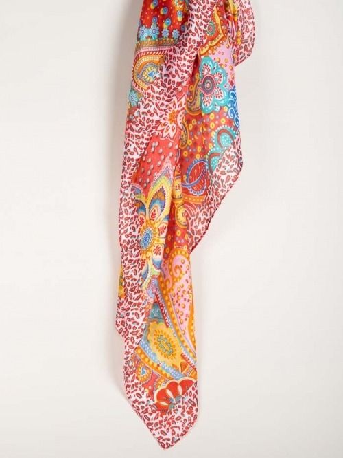 Maxi print scarf Red