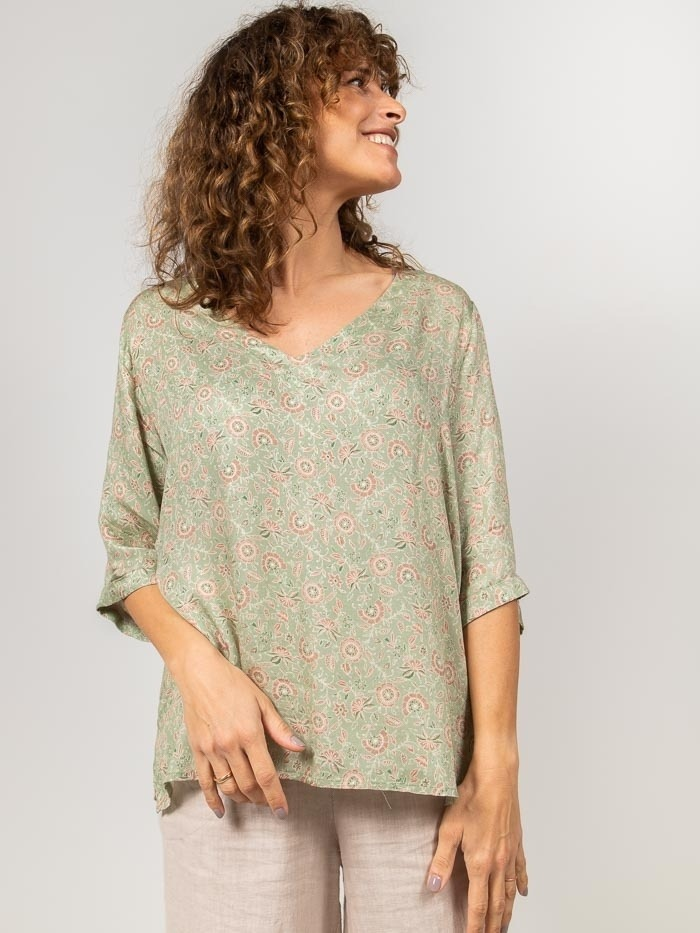 Printed blouse with openings Green