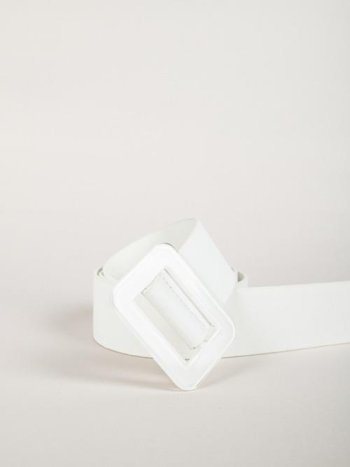 Cinturón hebilla rectangular trendy Blanco
