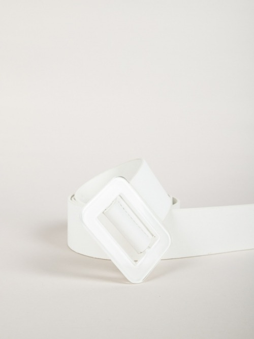 Trendy rectangular buckle belt White