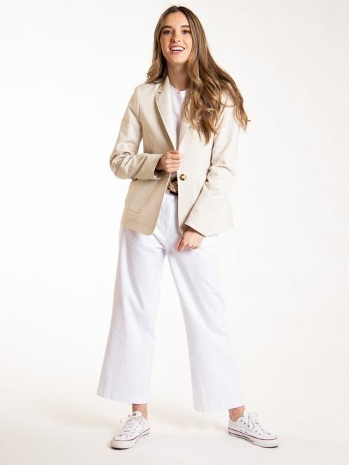 Americana algodón natural mujer Beige