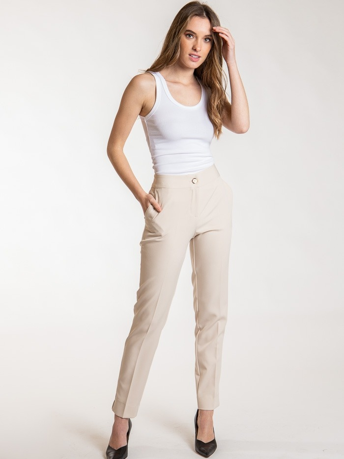 High rise pants with pockets Beige