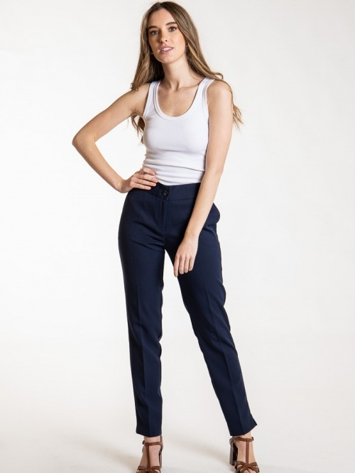 High rise pants with pockets Blue Navy