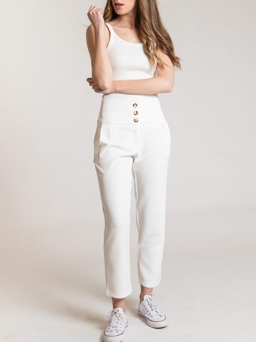 Women high rise button pants Crudo