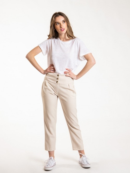 Pantalón botones tiro alto mujer Beige