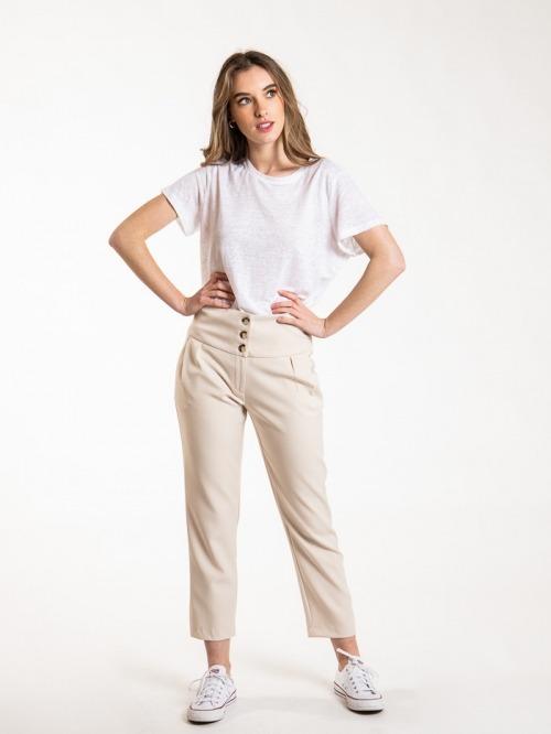 Women high rise button pants Beige