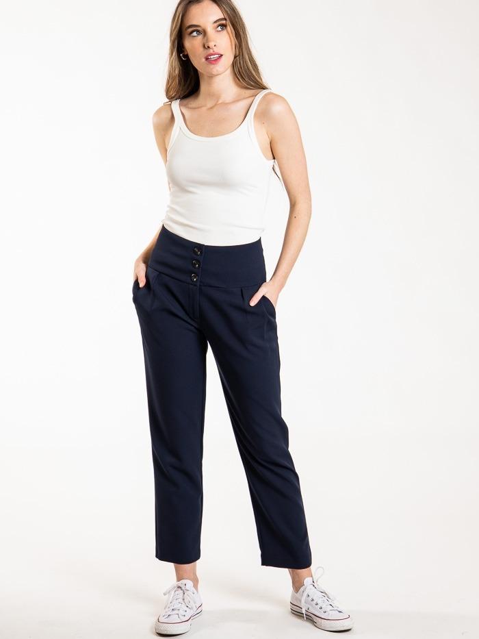 Women high rise button pants Blue Navy