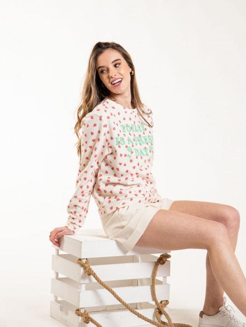 Strawberry print sweatshirt Beige