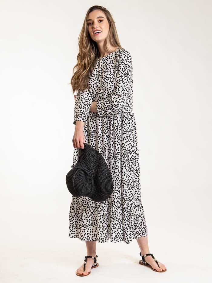 Long fluid polka dot dress Black