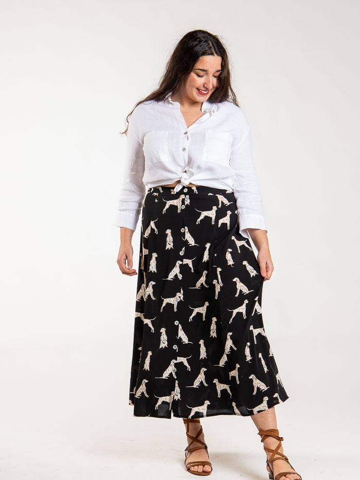 Printed skirt with pockets Black