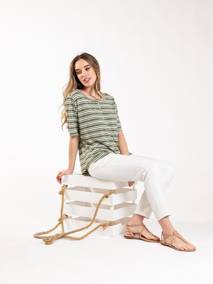 Striped t-shirt with glitter detail Khaki