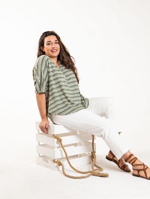 Camiseta oversize rayas Caqui