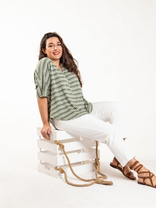 Oversize striped T-shirt Khaki