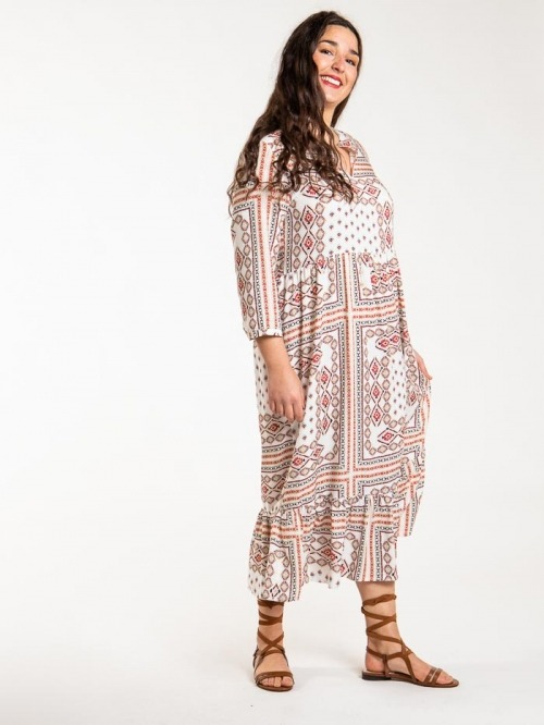 Long ethnic print dress ESTAMPADO 1