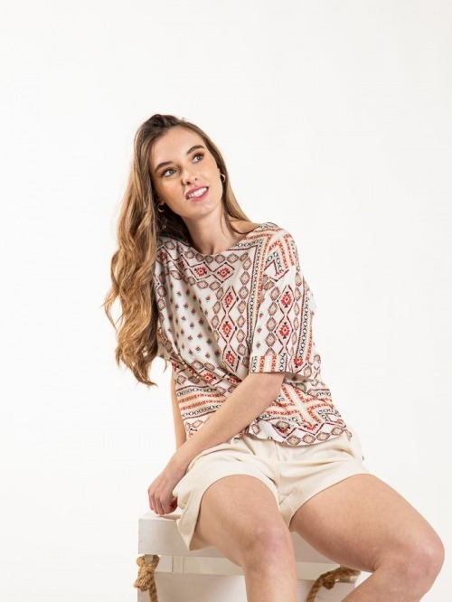 Ethnic short sleeve shirt