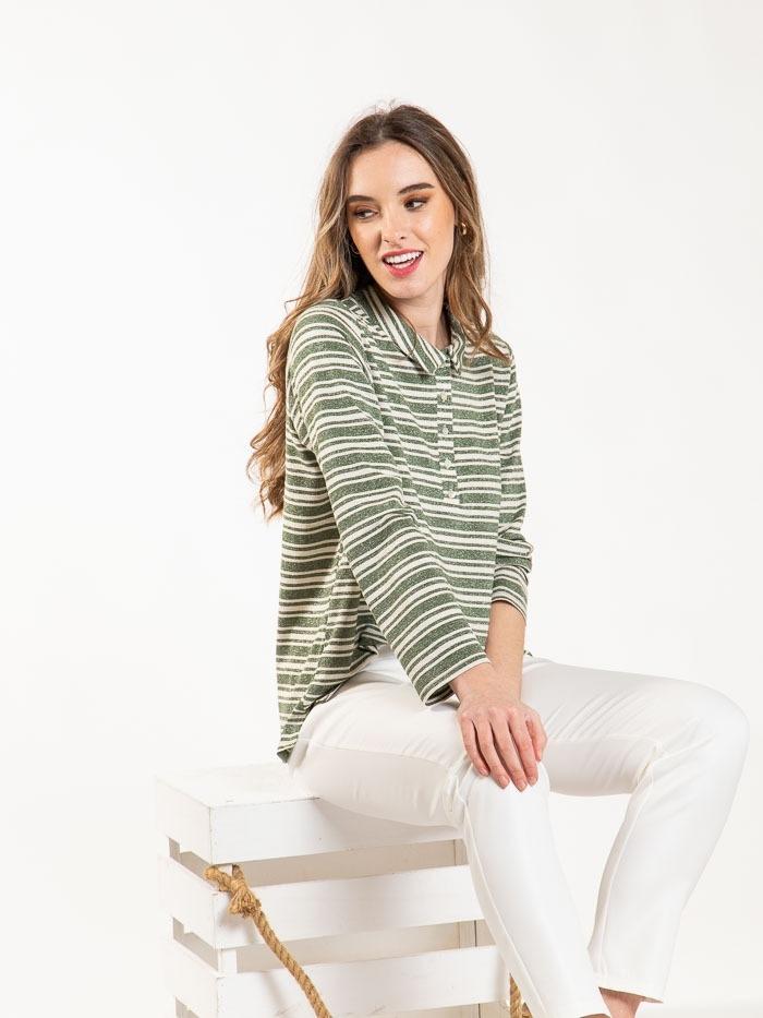 Glitter striped polo shirt Khaki