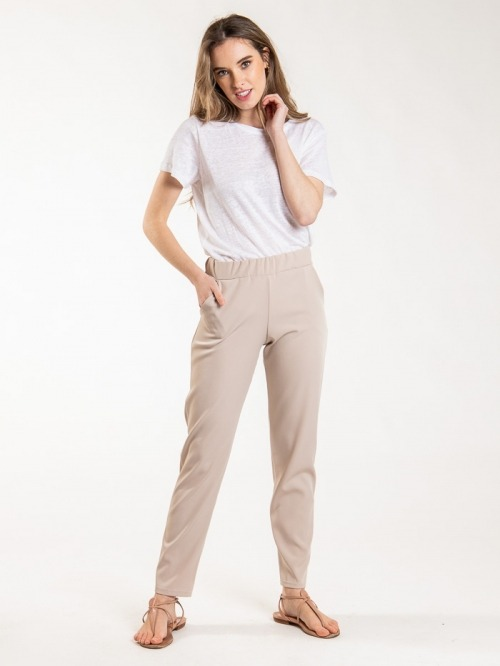 Basic Elastic Pants Beige
