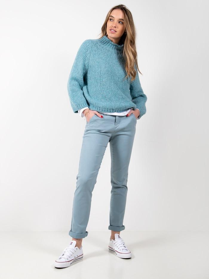 Pantalón chino algodón elastico Azul Claro