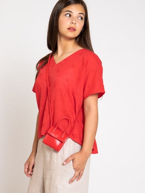 Synthetic leather bag Red
