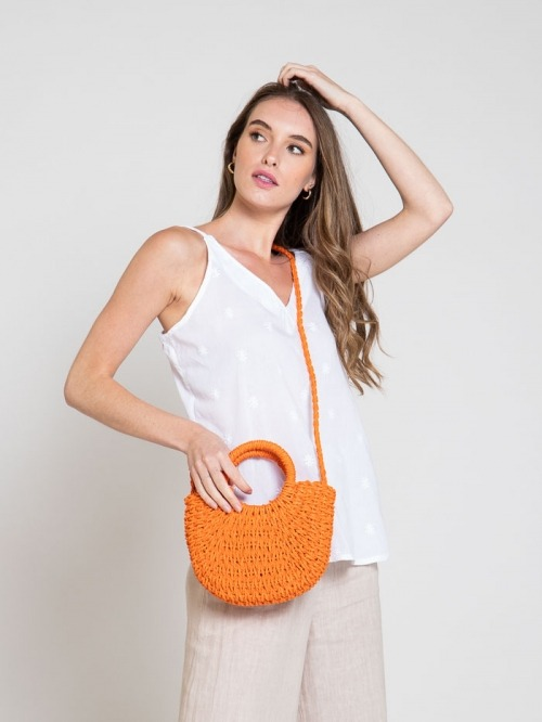 Small raffia bag with handle and shoulder strap Orange